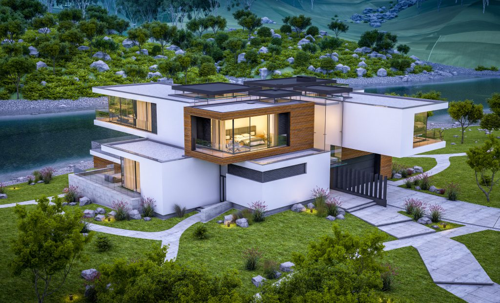 3d rendering of modern cozy house by the river with garage for sale or rent with beautiful mountains on background. Clear summer evening with blue sky. Cozy warm light from window.